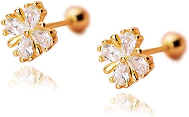 Small Dainty round Cz Diamond Leaf Flower Dangle Stud Earrings 14k Gold vermeil