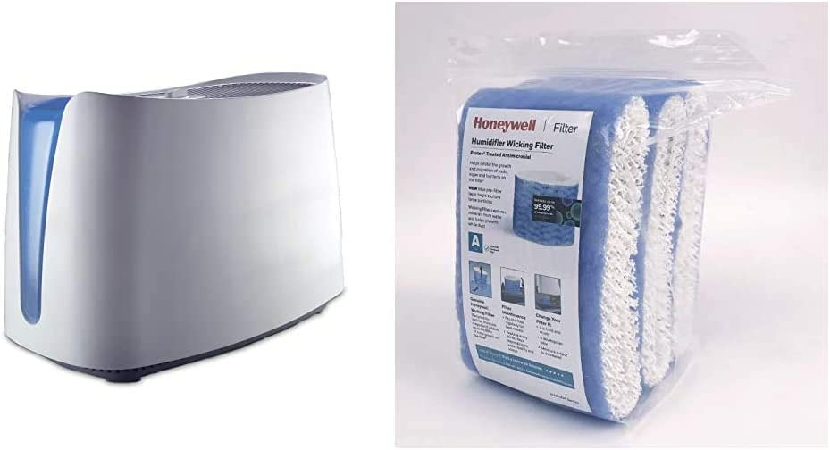Honeywell HCM350W Germ Free Cool Mist Humidifier White & Replacement Wicking Filter A, 3 pack, White, 3 Count