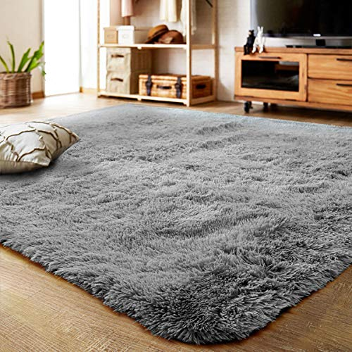 LOCHAS Ultra Soft Indoor Modern Area Rugs Fluffy Living Room Carpets Suitable for Children Bedroom Home Decor Nursery Rugs 4 Feet by 53 Feet Gray