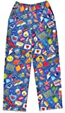 iscream Big Girls Fun Print Silky Soft Plush Pants - Groovy Patches, Medium