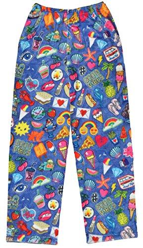 - iscream Big Girls Fun Print Silky Soft Plush Pants - Groovy Patches, Medium