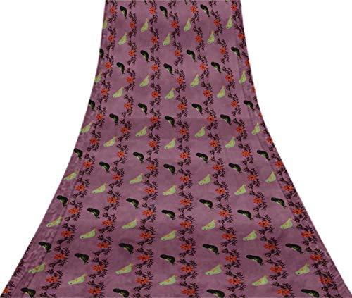 Svasti Leaves,Bird & Floral Clip Art VintageSilk Sari Lavender Dressmaking Refurbished Craft Fabric UsedSaree 1 Yard