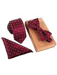 Men's Classic Restro Embroidery Necktie Bowtie Pocket Square 3pcs Set Burgundy