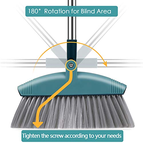 SUPERJARE Broom and Dustpan Set, Lengthened Upright Grips Sweep Combo, 180° Rotation Broom for Home & Office - Green by SUPERJARE (Image #1)