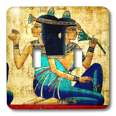 3dRose  lsp_119558_2 Egyptian Ladies On Papyrus Paper Double Toggle Switch