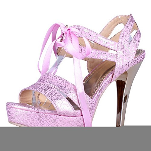 VogueZone009 Womens Open Toe High Heel Platform Stiletto PU Patent Leather Solid Sandals with Bandage, Pink, 3.5 UK