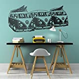 coffee bar wall decal - Vintage VW surf Bus wall art decal Surfing home decor