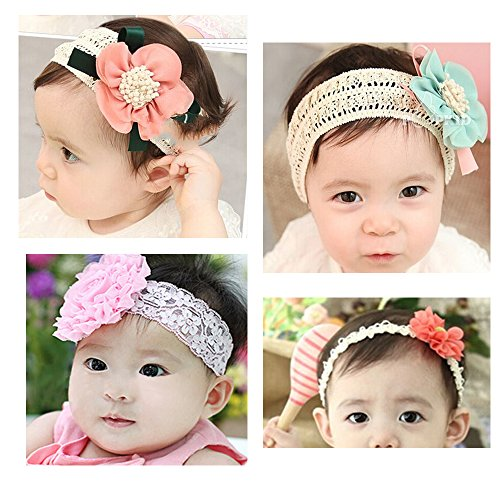 Price comparison product image KAKA(TM) 4 Styles Baby Girl's Beautiful Lace Flower Headbands