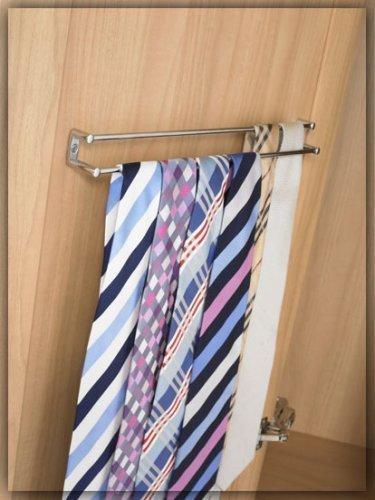 Twin rail tie rack Chrome by Fitmykitchen: Amazon.co.uk: Kitchen & Home