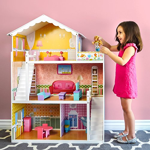 Large Childrens Wooden Dollhouse Fits Barbie Pink W/ 17 Pieces of Furniture by Generic