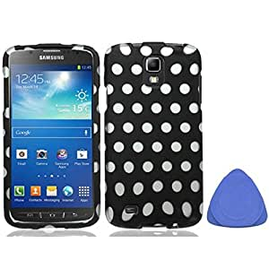 Samsung Galaxy S4 Active I537 I9295 Polka Dots Hard Plastic Protector Snap-On Cover Case - White Black + Tool