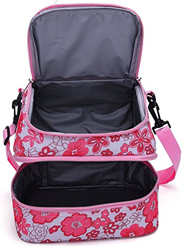 Mier Double Decker Insulated Lunch Box Pink Soft Cooler