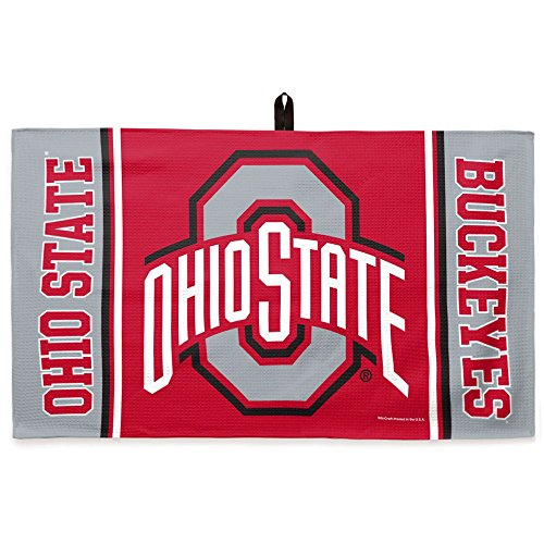 (Luxury Waffle Weave Collegiate Golf Towel and Center Loop | OHIO STATE UNIVERSITY | Ultra-Soft Fabric | 14