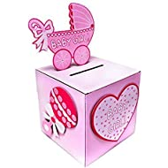 Adorox Pink Girl Baby Shower Wishing Well Card Box Decoration...