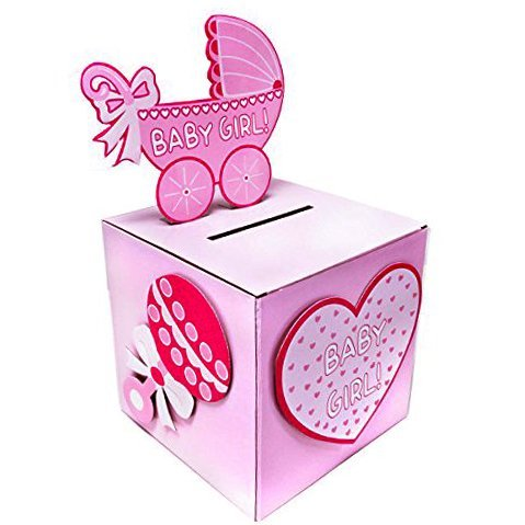 Adorox Pink Girl Baby Shower Wishing Well Card Box Decoration Cute Pretty Keepsake Carriage Rattle