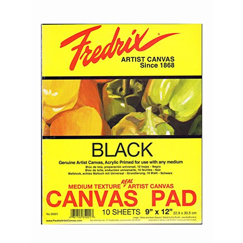 Fredrix Black Canvas Pads 9 in. x 12 in. 10 sheets [PACK OF 2 ] by Fredrix