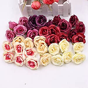 10 Pieces 4cm Silk Rose Artificial Flower Wedding Home Furnishings DIY Wreath Sheets Handicrafts Simulation Fake Flowers 80