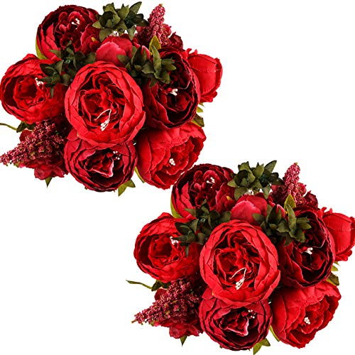 (Ogrmar Vintage Artificial Peony Silk Flowers Bouquet for Decoration (Red)