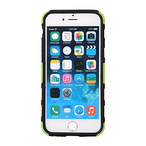 """MOONCASE iPhone 6 Case Dual Layer Hart Weich Hybrid Schutzhülle Etui Hülle Schale Case Cover für iPhone 6 (4.7"""") ausklappbarer Ständer Funktion Grün"""