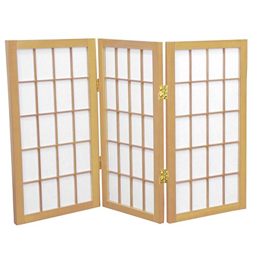 Oriental Furniture 2 ft. Tall Desktop Window Pane Shoji Screen - Natural - 3 Panels