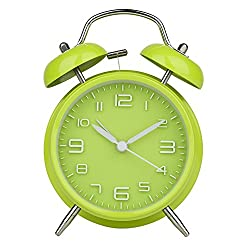 Peakeep 4 Twin Bell Green Alarm Clock, Battery Operated, Loud