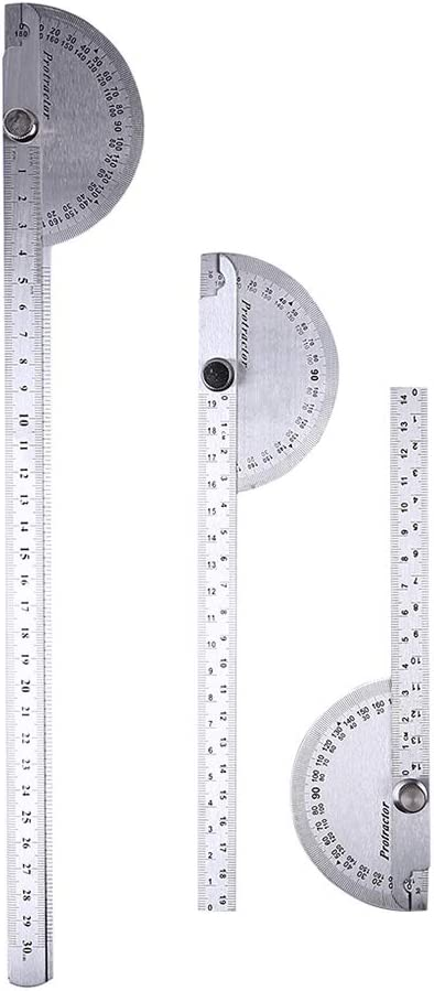 Double Swing Arms Stainless Steel Ruler 2 Arms, 300mm Roeam 300mm Protractor Angle Finder 180 Degree Folding Ruler for Woodworking Angle Measurement Tool