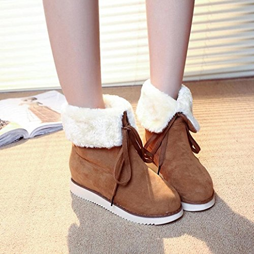KaiCran Winter Boots Womens Winter Plush Boots Outdoor Lace-up Shoes Warm Ankle Snow Boots Brown W55kdJS