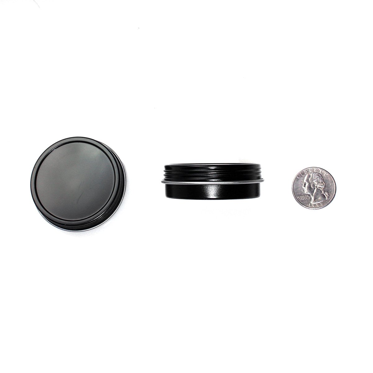 24 Pack Mimi Pack 1oz Screw Top Black Steel Tin Containers for Spices, Gifts, and Cosmetics by Mimi Pack