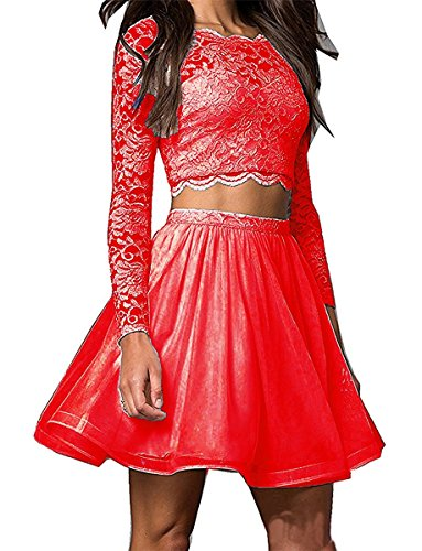 Homecoming DreHouse Short 2 Women's Prom Dresses Red Long Pieces Sleeve 7wx0HwWqBR