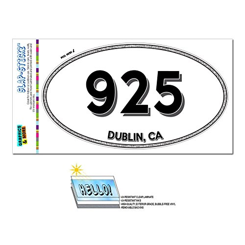 Graphics and More Area Code Oval Window Laminated Sticker 925 California CA Alamo - Walnut Creek - (Dublin Walnut)
