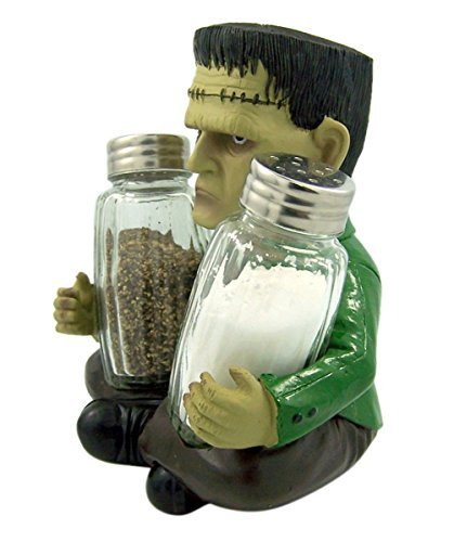 Frankenspice Halloween Salt and Pepper Shaker Holder With Shakers