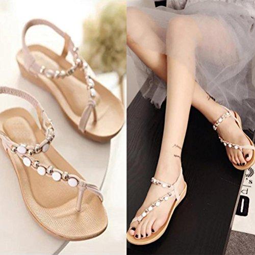 Hemlock Women Girl Bohemia Flat Sandals Peep Toe Sandals Shoes (US:9.5, Beige)