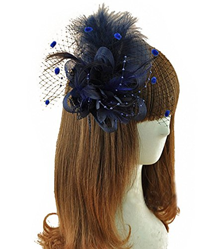 Removable Fascinator Hair Clip Feather Wedding Headwear Bridal 1920s Headpiece Women (Navy Blue) (Womens Hats From The 1920s)