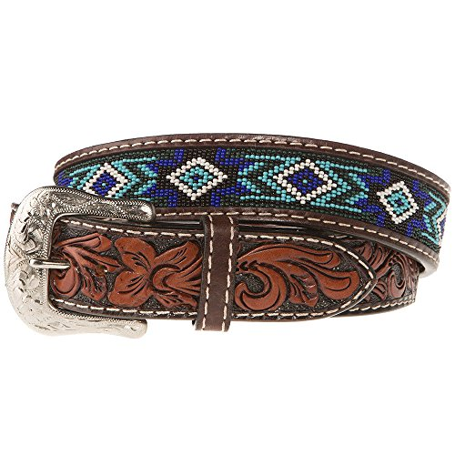 (Western Fashion Accessories Mens Belt With Blue And Turquoise Beading 34 Brown)