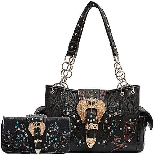 - Python Buckle Western Style Studded Handbag Concealed Carry Purse Country Women Shoulder Bag Wallet Set (Black Set)