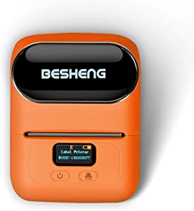 BESHENG M110 Bluetooth Handheld Label Printer, Mini Portable Phone Label Maker, for Price Tags, Address Label, Shipping Label Compatible with iPhone/iPad/Android (Orange)