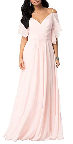 Buy Benboer Women S Long Bridesmaid Dresses Cold Shoulder Formal Evening Gown Prom Dress V Neck Chiffon Blush 6 At Amazon In