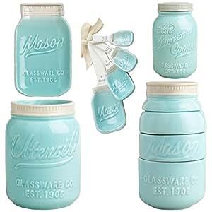Amazon Com Blue Mason Jar Ceramic Kitchenware Complete