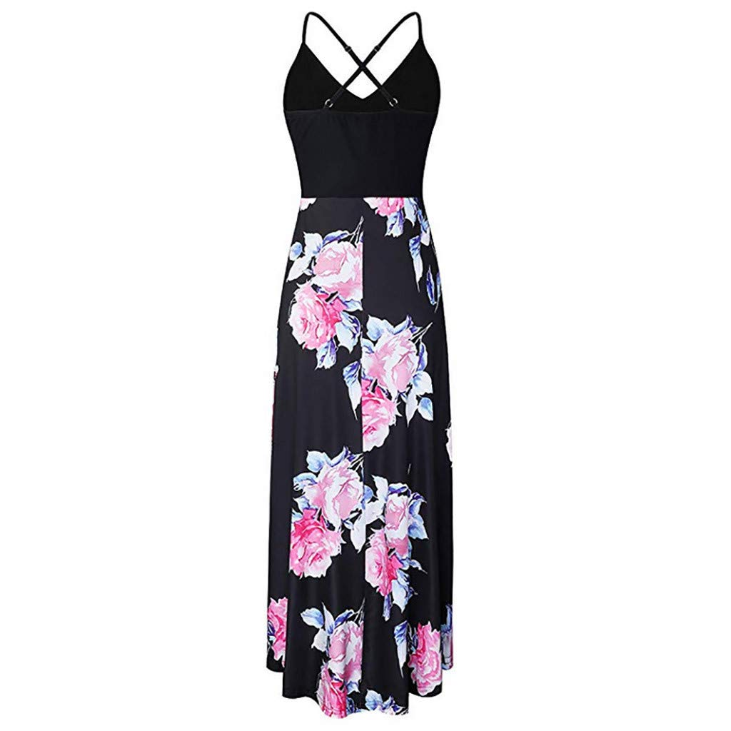 Fashion Sleeveless Sexy Backless Irregular Skirt Summer Casual Dresses Printed Halter Dress for Women's (M, Black) by S&S-women (Image #4)