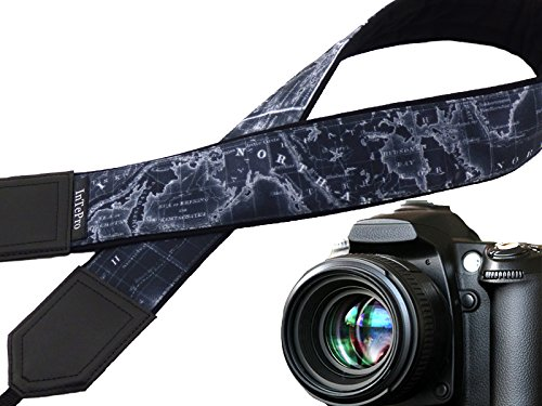 Map camera strap. Black neck camera strap. North America, Europe, Australia, South America. World map. Christmas stocking stuffer. code (Halloween In Australia)