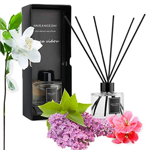 binca vidou Reed Diffuser Fresh Floral Set Reed Oil Diffusers for Bedroom Living Room Office Aromatherapy Oil for Gift Idea & Stress Relief 120 ml/4.09 oz