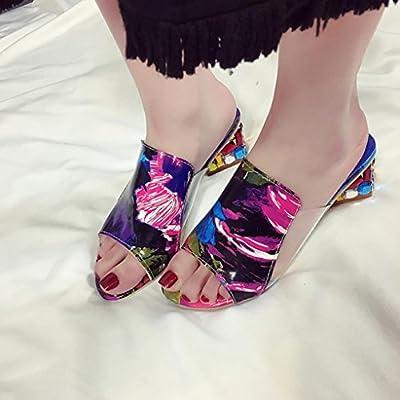 Besde Fashion Rhinestone Thick Heels Slipper Women Sandals Party Flip Flop Shoes
