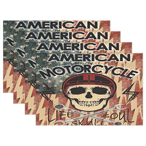 SUABO Halloween Placemats Heat-Resistant Dining Table Place Mats Washable PVC America Flag and Skull Design Set of 6 ()