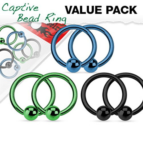 Value Pack 3 Pairs Annealed 316L Surgical Steel Captive Bead WildKlass Rings Titanium Anodized Blue,Green and Black Pack - Blue Titanium Anodized Captive Ring