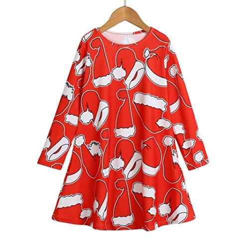 Omiky® Kleinkind Baby Mädchen Weihnachten Schneemann Kleidung Langarm Party Prinzessin Kleid Rot