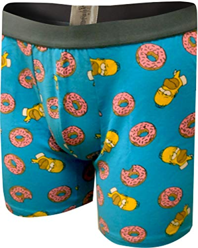 Underboss Men's Homer Simpson Loves His Donuts Boxer Briefs (X-Large) Blue