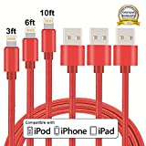 iPhone Cable, MCUK 3 Pack 3ft 6ft 10ft Lightning Cable Charging Cord Nylon Braided Apple USB Cable for iPhone 7 7 Plus 6 6s plus, iPhone 5 5s 5c SE, iPod, iPad Mini, iPad ((3ft+6ft+10ft)Red)