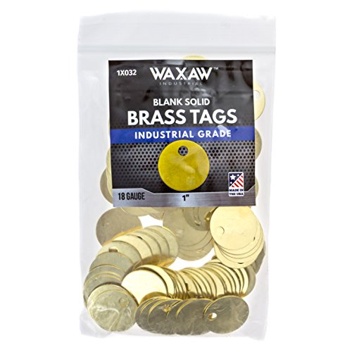"- 1X032 100 Pack - 1"" Solid Brass Stamping Tags Industrial Grade Blank Chits for Pipe Valves, Tool Check-Out and Equipment Labeling"