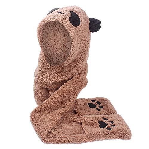 HGWXX7 Women Faux Fur Panda Shape Beanie Warm Winter Keep Warm Hat Gloves Pocket(One Size,Coffee) -