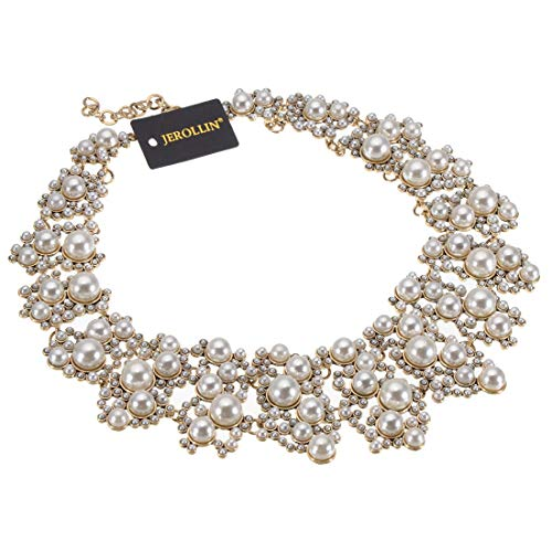 Pearl Statement Necklace - Jerollin White Simulated Pearl Statement Necklace, Vintage Chain Choker Collare Bib Statement Pendant Necklace Fashion Costume Jewelry Necklaces for Women
